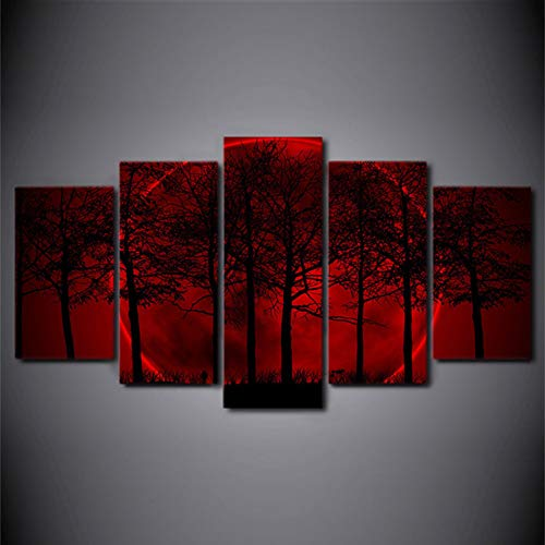 Canvas Prints Red Aurora Painting Canvas Art - 5 Pieces Pictures Tree and Halo Modern Artwork Wall Art Print Framed Walls Decor,Frameless,100X50cm