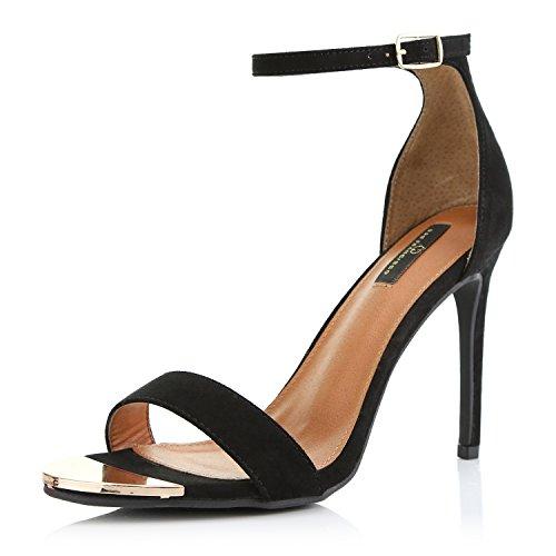 DailyShoes Women's Stilettos Sandal Open Toe Ankle Buckle Strap Platform Evening Party Dress Casual Shoes, Black Suede, 7.5 B(M) US