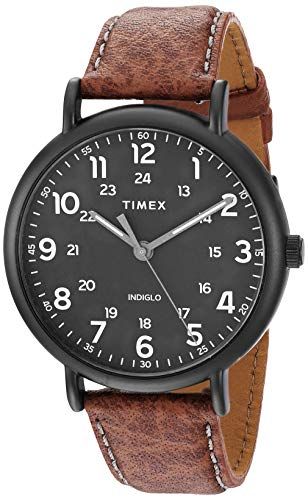 Timex Men's TW2T73500 Weekender 43mm Brown/Black Two-Piece Leather Strap Watch