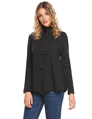 Pleated Tie Neck - Zeagoo Women Clubwear Tops Sexy Halter Tie Neck Blouse Sexy Pleated Long Sleeve Shirt Party Wear Black L