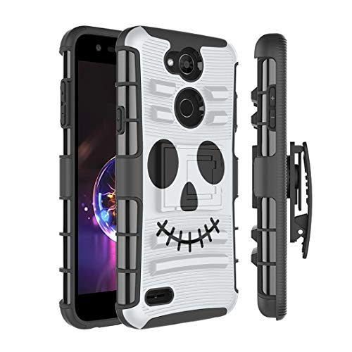 Moriko Case Compatible with LG X Power 3 [Armor Layer Drop Protection Shockproof Kickstand Belt Clip Holster Combo Black Case Cover] for LG XPower 3 - (Halloween Skull)