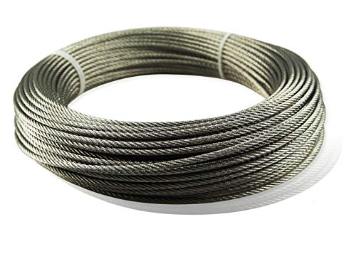 Muzata Stainless Aircraft Steel Wire Rope Cable for Railing,Decking, DIY Balustrade, 1/8Inch,7x7,165Feet WR01