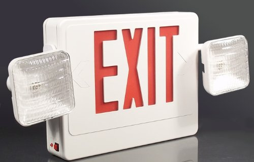 (Mule Lighting SQRXU Red LED Emergency Exit Sign Combination Light with Battery Backup, Universal 120/277 Volt)
