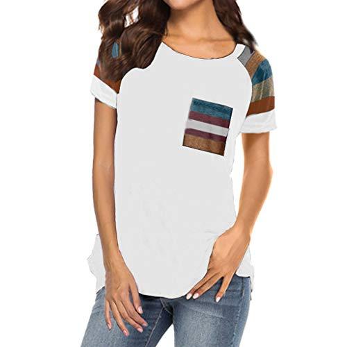 Women Top,Stripe Sleeve Patchwork Blouse Casual T-Shirt Loose Short Sleeve Vest Cardigan Tunics Polos Ann Taylor Silk Cardigan