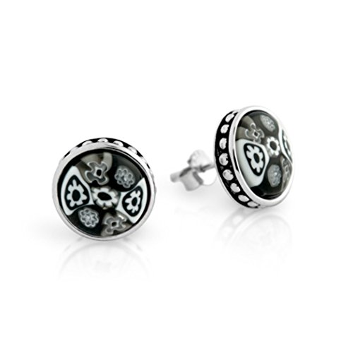 - Sterling Silver Glass Murano Millefiori Round Stud Earrings Made in Italy (12MM, Color Options) (Black)