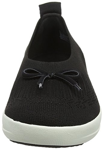 Toe Fitflop nero Ballerina Slip Black Ballerine Closed With 001 Uberknit on Bow q88ZrnWfpv