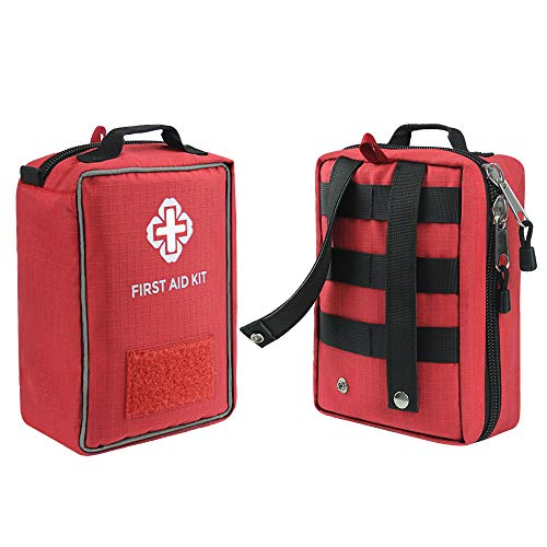 """FUNANASUN First Aid Kit Soft Case Molle Medical EMT Pouch Bag Waterproof for Home School Car Office Emergency Camping Hunting Sports (Empty First Aid Pouch(8.5"""" x 6.3"""" x 3.2""""))"""