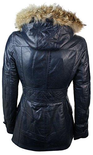 Procione Pelo Nera da Vera nero Lunga Giacca con Pelle di Donna Blu Cappuccio In di T7wwFYn