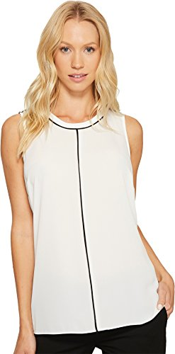Color Block Piping (Vince Camuto Womens Sleeveless Color Block Blouse with Contrast Piping New Ivory SM One Size)