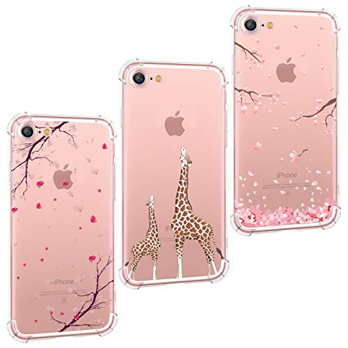 (Hepix 3PCS Floral iPhone 8 Case Giraffe iPhone 7 Clear Case, Cherry Flowers Soft Flexible Protective TPU with Four Bumpers Anti-Scratch Raised Lip Camera Protection Phone Cover for iPhone 8 iPhone 7)