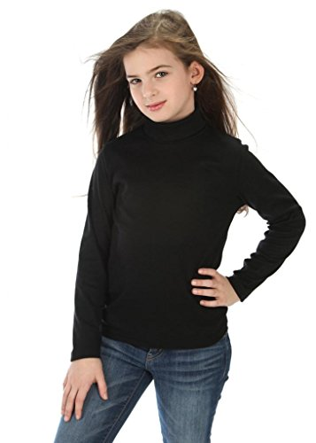 high5 solid Color Turtleneck 100% Cotton Size 6 Black ()