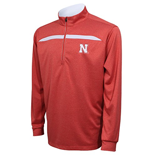Cornhuskers Adult Men's Quarter Zip with Contrast Panel, Large, Red/White ()