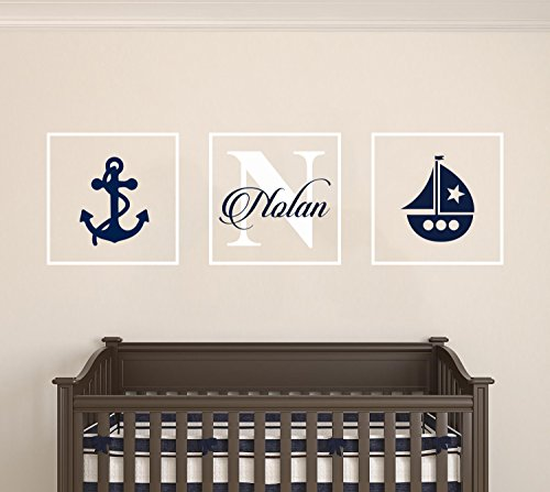 Personalized Name Nautical Anchor & Sailboat - Frames Series -Baby Boy/Girl Wall Decal Nursery For Home Bedroom Children (AM) (Wide 42