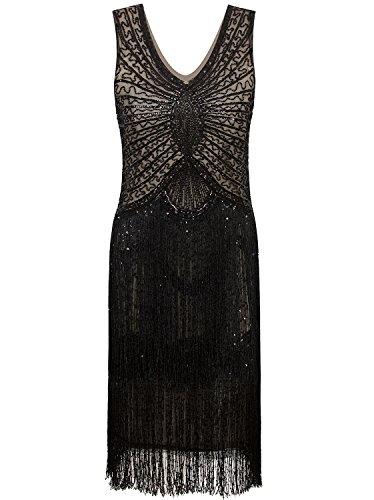 Vijiv 1920s Style Inspired Charleston Sequin Layer Tassel Cocktail Flapper Dress,Black Beige,Medium]()