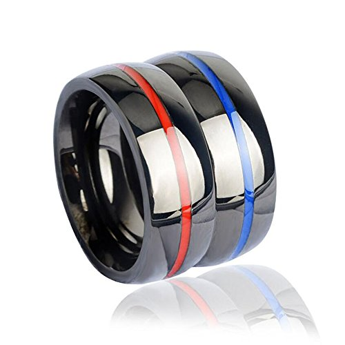 (enhong 8mm Black Mens Stainless Steel Thin Line Polished Finish Wedding Band Ring for Men Women, 2 Color-Size 13)