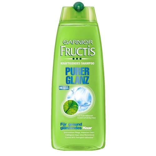 Garnier Fructis Shampoo Purer Glanz / Haarshampoo für gesund glänzendes Haar (mit Anti-Kalk-Wirkstoffen - ohne Parabene - ohne Silikone) 2er Pack - 250ml