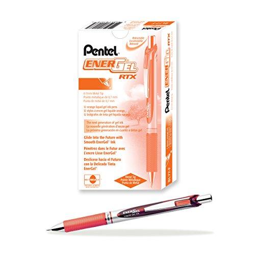 Pentel EnerGel Deluxe RTX Retractable Liquid Gel Pen, Medium Line, Metal Tip, Orange Ink, Box of 12 (BL77-F)