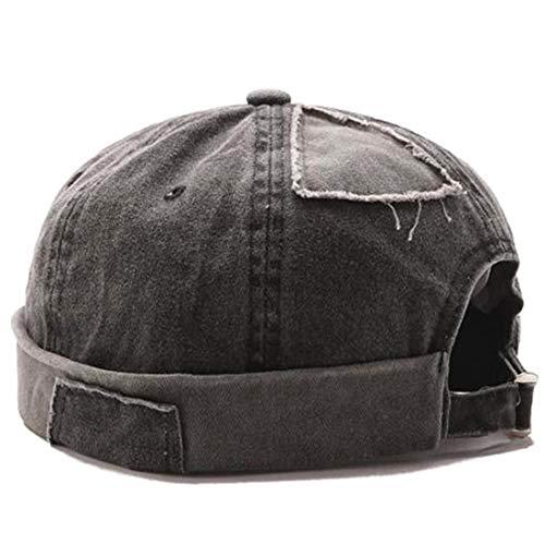 Brimless Hat Men Casual Docker Cap Rolled Cuff Retro Beanie with Adjustable (Black)