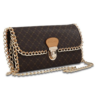 Rioni Signature (Brown) - Chained Clutch by Rioni
