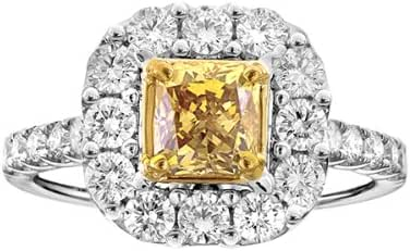 Unique Royal Jewelry 18k White Gold GIA Yellow Radiant Cut Diamond .97 VS1 HPHT Ring