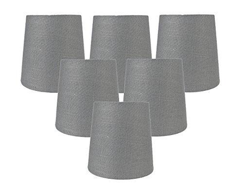 Meriville Set of 6 Graphite Linen Clip On Chandelier Lamp Shades, 4-inch by 5-inch by 5-inch