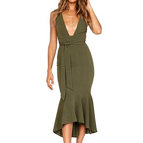 UOFOCO Summer Dress for Women Deep Party Dress V Neck Dress Ladies Summer Fishtail -