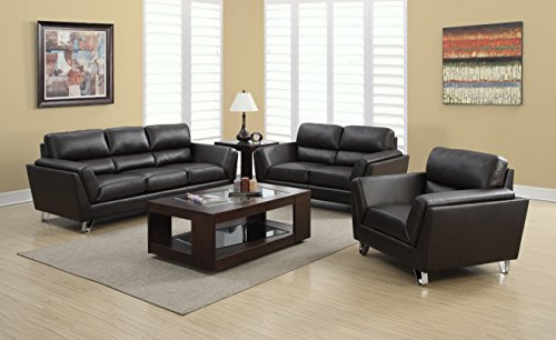 Monarch Specialties I 8203BR Dark Brown Bonded Leather with 3 Seater Sofa