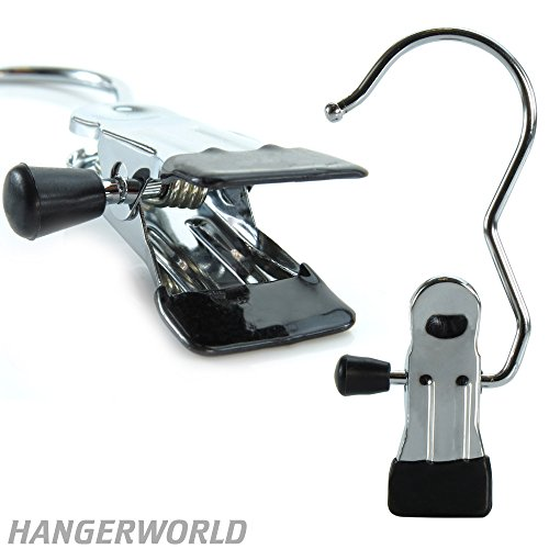Hangerworld Pack of 3 Heavy Duty Single Chromed Metal Clip Coat Hangers - for Use At Home and Office