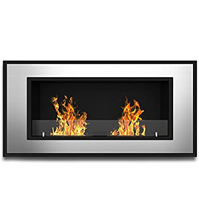 Elite Flame Tulsa Ventless Bio Ethanol Recessed or Wall Mounted Fireplace