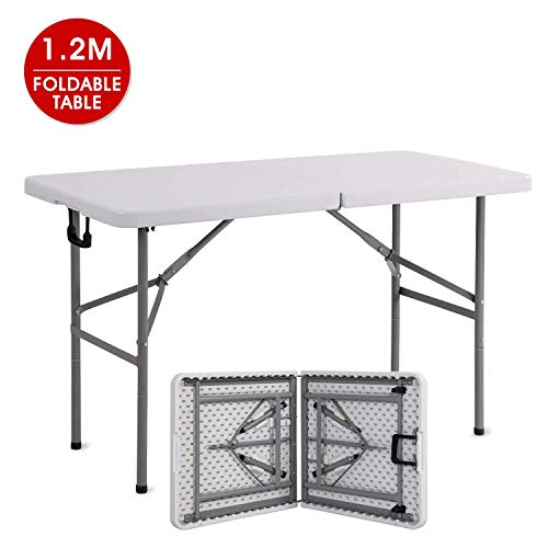 Romatlink Collapsible Folding Rectangle Table, Portable and Adjustable Height Desk Use for Backyard, Party, Indoor or Outdoor Activities, White-New