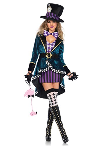 Halloween Costumes Women's 2016 (Leg Avenue Women's Delightful Hatter Costume, Multi,)