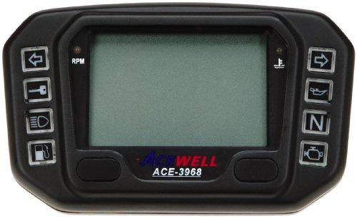 Acewell ACE-3968AS Digitaler Motorrad & Quad / ATV Tachometer mit Drehzahlmesser, LED Kontrollleuchten & Ganganzeige aus hochwertigem schwarz eloxierten Aluminium