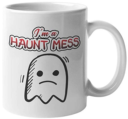 I'm A Haunt Mess Funny Pun Halloween Coffee & Tea Gift Mug For Trick Or Treaters, Men, Boys, Girls, Women, Ladies, Students, Kids, Professionals, And Coworkers (11oz)]()