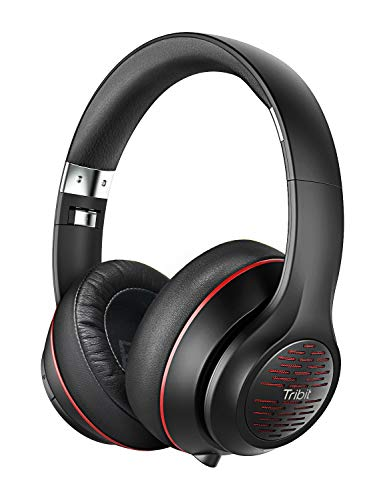 Tribit XFree Tune Bluetooth Headphones Over Ear - Wireless Headphones 40 Hrs Playtime, Hi-Fi Stereo Sound with Rich Bass, Built-in Mic, Soft Earmuffs - Foldable Headset with Carry Case, Black/Red