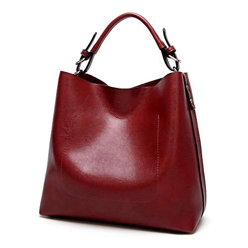 Women Handbags Leather Tote Handbags Shoulder Designer Hobo Bag Satchel Purse Set 2PCS for Ladies - Burgundy