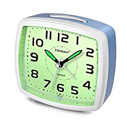 Juboos Silent Non Ticking Analog Alarm Clock with Nightlight Snooze Travel Alarm Clock Silent Sweep Second Hand, Lightweight Analog Quartz Clocks for Bedrooms (Light Blue)