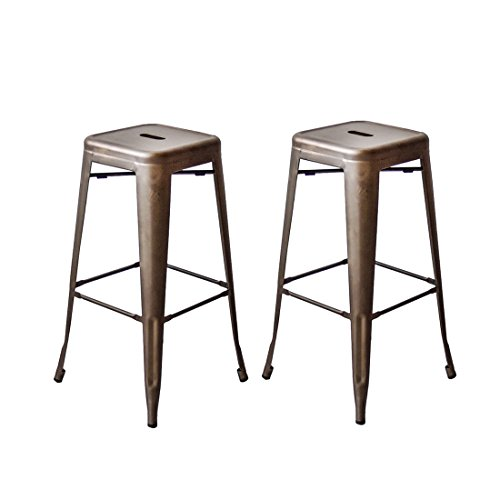 Buschman Set of Two Gun Gray 30 Inches Counter High Tolix-Style Metal Bar Stools, Indoor/Outdoor, Stackable (30 Outdoor Bar Stools)