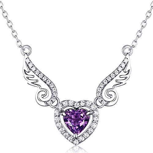 Sterling-Silver-Purple-Natural-Amethyst-Gemstone-Love-Angell-Wings-and-Heart-Pendant-Necklace