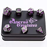 Caverns & Creatures Black Metal RPG Dice with Purple Numbers in Stylish Tin Display Case