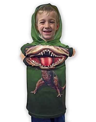 Mouthman Child TRex Hoodie T Shirt Dinosaur Kids Boys Girls Long Sleeve, S (78) , Green -