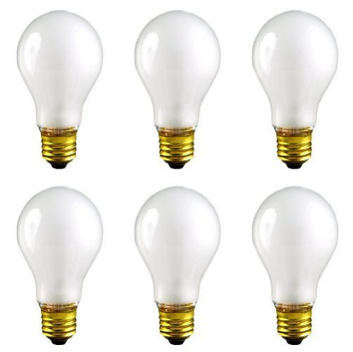 CEC Industries TS100 (Frosted) Silicone Coated, Rough Service Bulbs, 130 V, 100 W, E26 Base, A-19 shape (Box of 6) ()