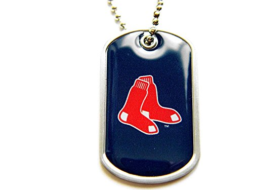 aminco Boston Red Sox Dog Tag Domed Necklace Charm Chain Mlb