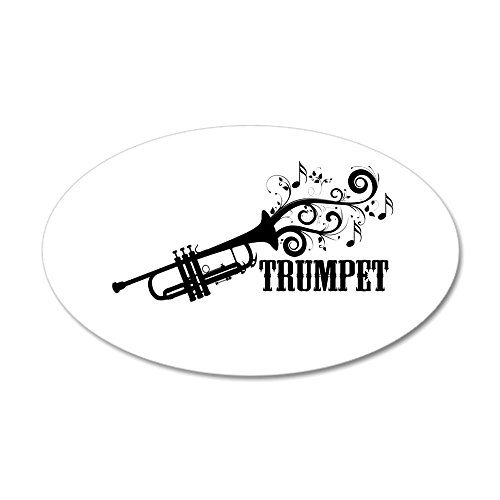 CafePress - Trumpet with Swirls Wall Decal - 20x12 Oval Wall Decal, Vinyl Wall Peel, Reusable Wall Cling