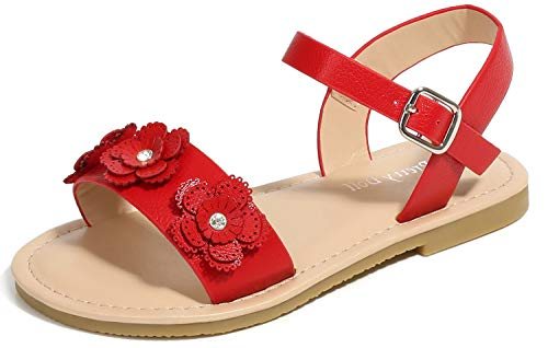 (Toddler Girls Platform Sandals Dress Flat Heels Princess Party Kids Wedge Flower Sandals for Girls Performance Size 2M Red Little Girls Fashion Crystal Cute 9t Knot Pearl Shoes (Red 33))