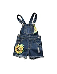 Little Girls Suspender Trousers Sweet Style Sunflower Printing Denim Casual Overalls Summer Clothes