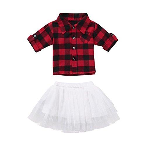 Kehen Fashion Toddler Baby Girls 2pcs Summer Dress Set Button Down Plaid Flannel T-Shirt Tops + Sweet Tutu Skirt (Red, 3T) ()