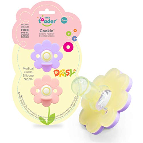 Little Toader Cookie Baby Pacifier (Round Nipple - Solid Silicone) 3+ Month Daisy Girl (Pink and Purple)