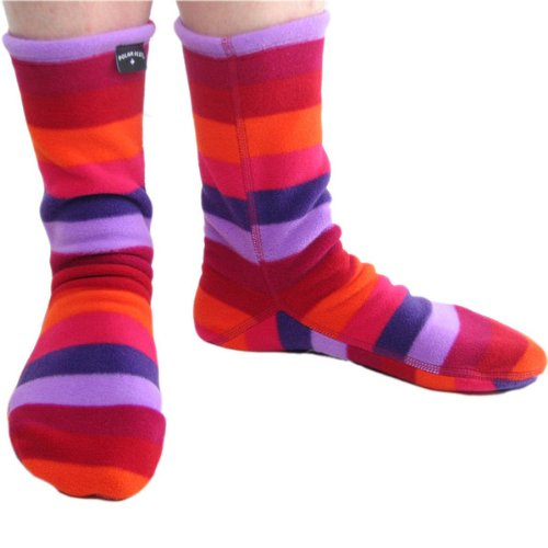 Polar Feet Non-Skid Fleece Socks, Unisex, Made in CANADA, Jellybean style