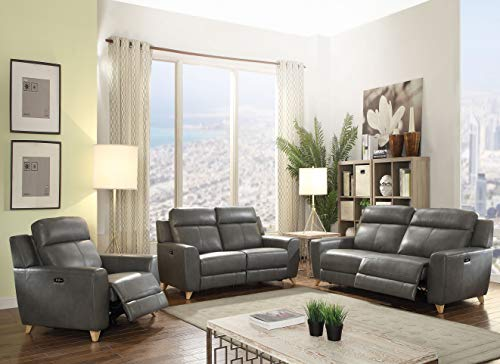 ACME Cayden Gray Leather-Aire and Power Reclining - Leather Set Loft Sofa