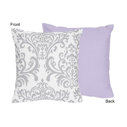 Sweet Jojo Designs Lavender, Gray and White Damask Print Eli